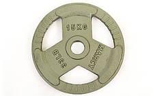 Блины стальные с хватом 15кг (диам. 52мм) TA-8026-15, фото 2