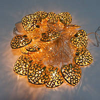 Гирлянда светодиодная сердце цвет золото 20 LED 3 метра