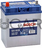 Bosch S4 019 Silver 40 Ah 330 A аккумулятор (+-, L) Asia тонкие клеммы, 2019 год (0092S40190)