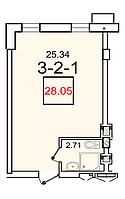 "1 комнатная квартира 28,05  метров ЖК ""SMART"" , Одесса"