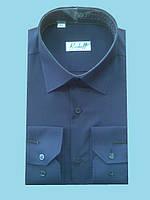 Мужская рубашка темно синяя с длинным рукавом