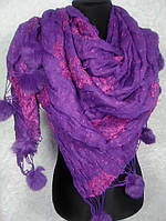 Палантин фиолетовый с мехом  №1915-4(2)