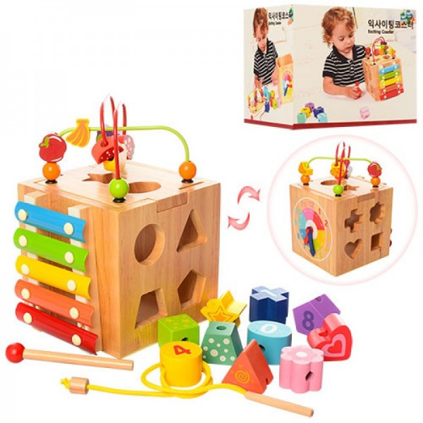 Деревянная игрушка сортер Куб - логика ксилофон, лабиринт