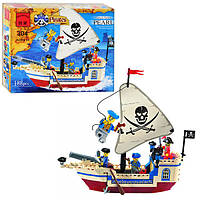 Конструктор BRICK 304/705560  корабль, пираты, 188 дет, разобр, в кор-ке, 24-19-4,5см