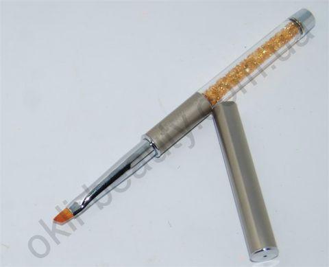 Кисть косая складная для дизайна ногтей с кристаллами