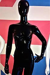 Манекен женский черный глянцевый безликий