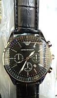 Мужские наручные часы ЕА (Emporio Armani) черные с чёрным циферблатом, Армани