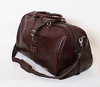 Дорожная кожаная сумка саквояж 45 л. Vip Collection 36490B croc коричневый, 36490A croc черный, 36490C croc