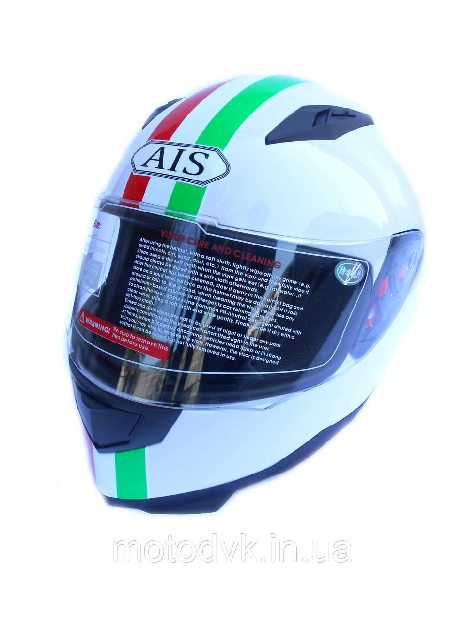 Мотошлем AIS белый, размер L  (со съемным воротником)