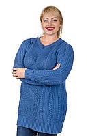 Свитер - туника  вязаный женский размер плюс Кукуруза джинс (50-56)