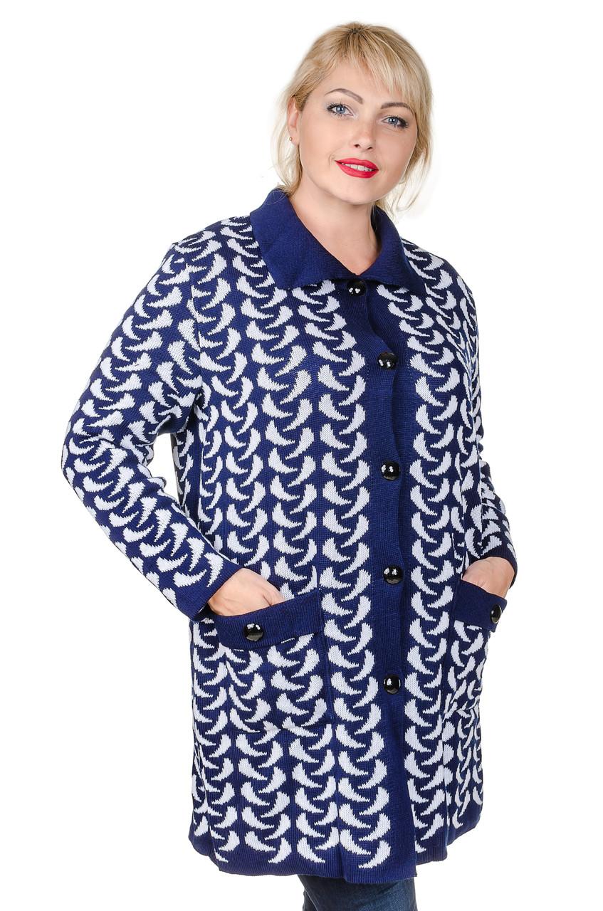 кардиган женский вязаный большой размер Luna синийбелый 56 60 цена 529 грн купить в
