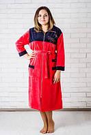 Женский велюровый халат комбинированный