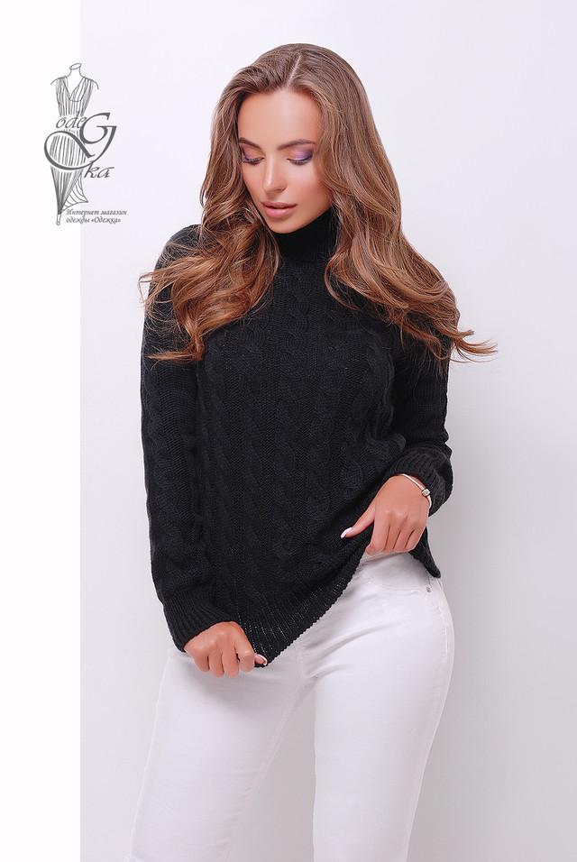 Черный цвет Женского зимнего свитера теплого Ярина