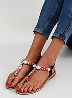 Розово-черные женские сандалии Tojja 37