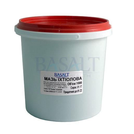 Мазь Іхтіолова 1 кг (Базальт) для лікування опіків, ран, дерматитів та екземи у тварин