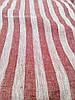 Льняная жаккардовая ткань в красно - белую полоску (шир. 160см)