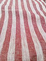 Льняная жаккардовая ткань в красно - белую полоску (шир. 160см), фото 1