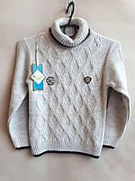 Практична і тепла кофта на хлопчика,склад: 30% вовни, розміри:5-8 років, колір сірий з чорною окантовкою