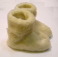 Тапочки-сапожки женские теплые из овчины светлые