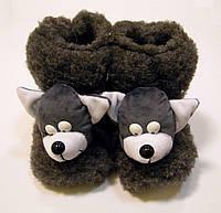 Женские меховые домашние сапожки Волчонок из овчины