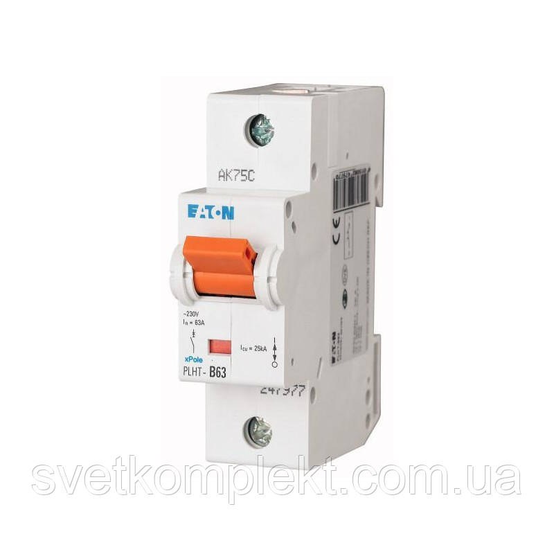 Автоматичний вимикач PLHT-C63 (247986) Eaton 63A 1P 20kA
