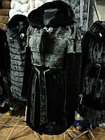 Черная шуба из норки с мутоном под пояс