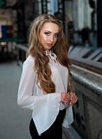 Блуза с расклешенными рукавами белая
