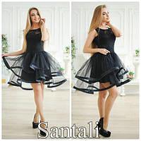 Платье из Гипюра + Фатина с регилином (подкладка - микромасло) арт 2523-430
