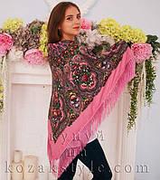 """Хустка """"Квіти на рожевому"""" (110х110)"""