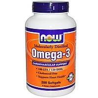 Витамины и Минералы NOW Omega-3 (200 softgels)