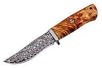 Нож охотничий из дамаской стали Медведь, ручная работа, кожаный чехол в комплекте, упор под палец