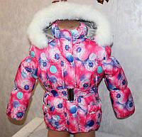 Теплый зимний полукомбинезон+куртка для девочек, термохоллофайбер+меховая подстежка, размеры26,28,30,32 размер