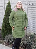 Женское зимнее пальто из плащевой ткани на синтепоне / размер 52 / цвет зеленый