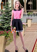 Кружевная розовая блуза без рукавов