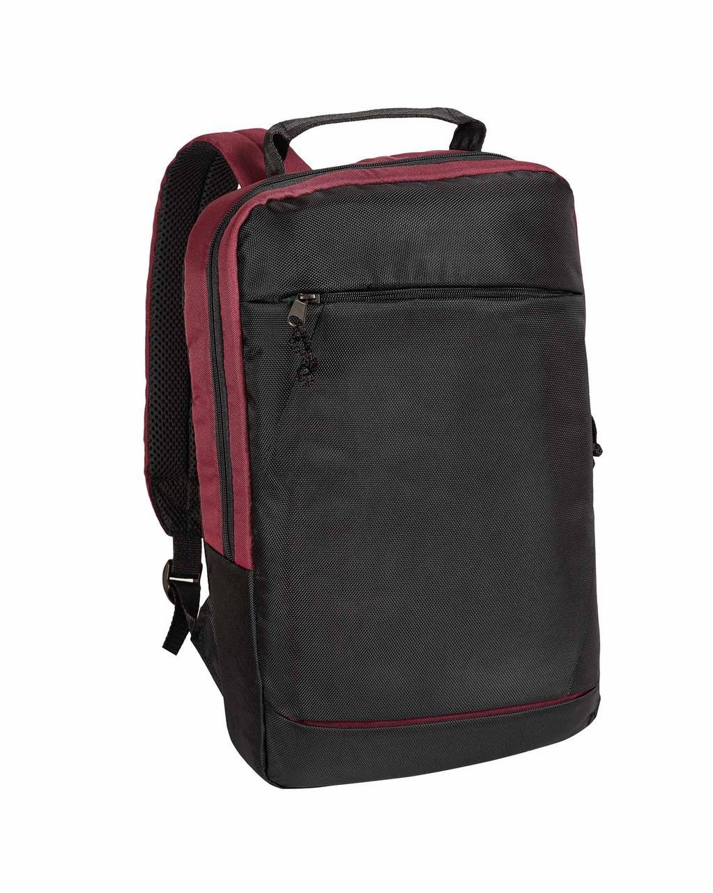 Рюкзак для ноутбука Surikat 18л. 44х30х7.5 см. чорний бордовий діагональ до 15 дюймів поліестр