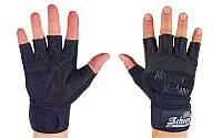 Перчатки для пауэрлифтинга SCHIEK BC-4928-BK с напульс