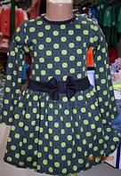 Детское трикотажное платье в горошек