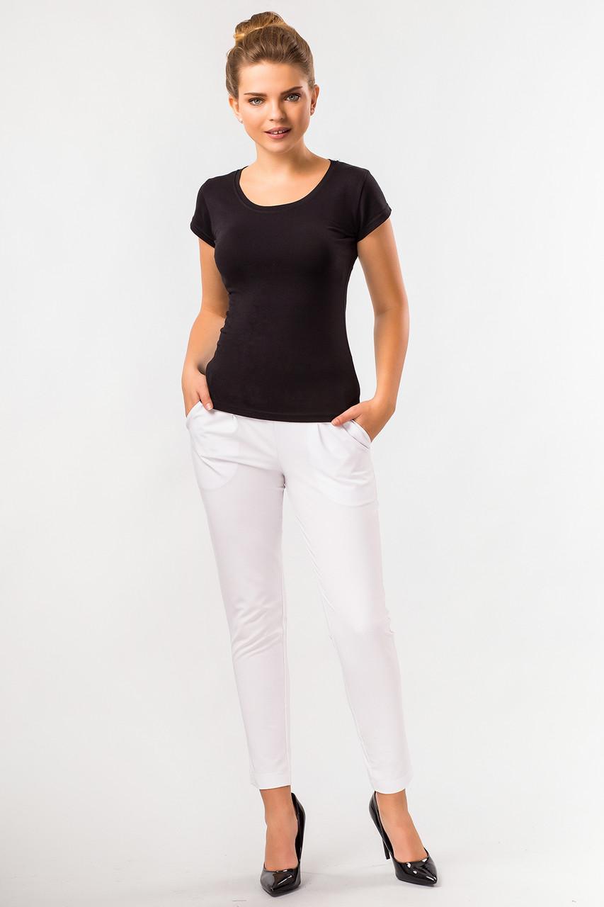 Женские летние белые зауженные брюки с карманами -