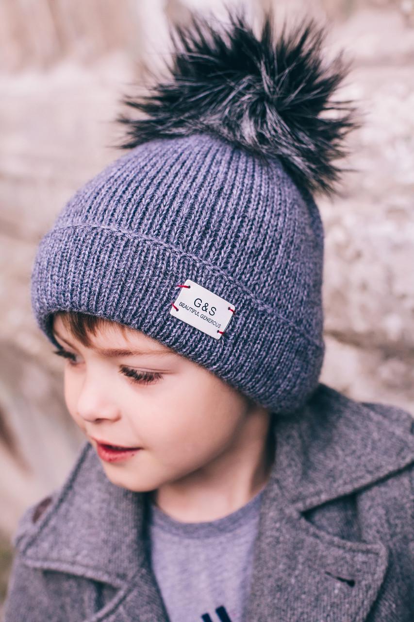 серая вязаная шапочка для мальчика продажа цена в одессе головные уборы детские