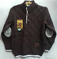 Елегантний теплий светр на хлопчика,склад: 30% вовни, розміри:5-9 років, колір коричневий