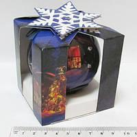 """Шар новогодний, глянцевый в подарочной коробке """"Сказка""""1 шт. 75 мм 6 LED"""