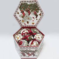 """Шары новогодниев подарочной коробке, матовые + глянцевые""""Волшебство"""" 14 шт. 75 мм"""