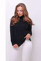 Теплый женский вязаный черный свитер под горло в косичку