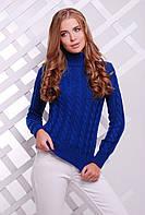 Теплый женский вязаный синий свитер под горло в косичку