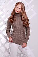 Теплый женский вязаный свитер под горло в косичку цвет кофе