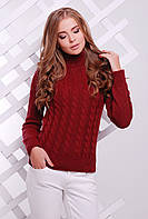 Теплый женский вязаный бордовый свитер под горло в косичку