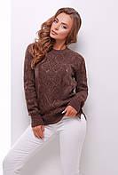 Женский красивый вязаный свитер с нарядным узором цвет коричневый