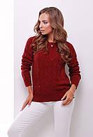 Женский красивый вязаный свитер с нарядным узором бордовый