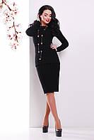 Теплый вязаный женский костюм-двойка в косичку (джемпер и юбка) черный