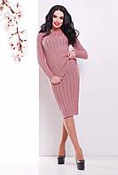 Теплый вязаный женский костюм-двойка в косичку (джемпер и юбка) розовый